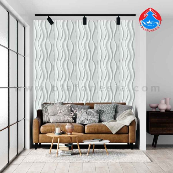wall 3D white short line plafonesia design